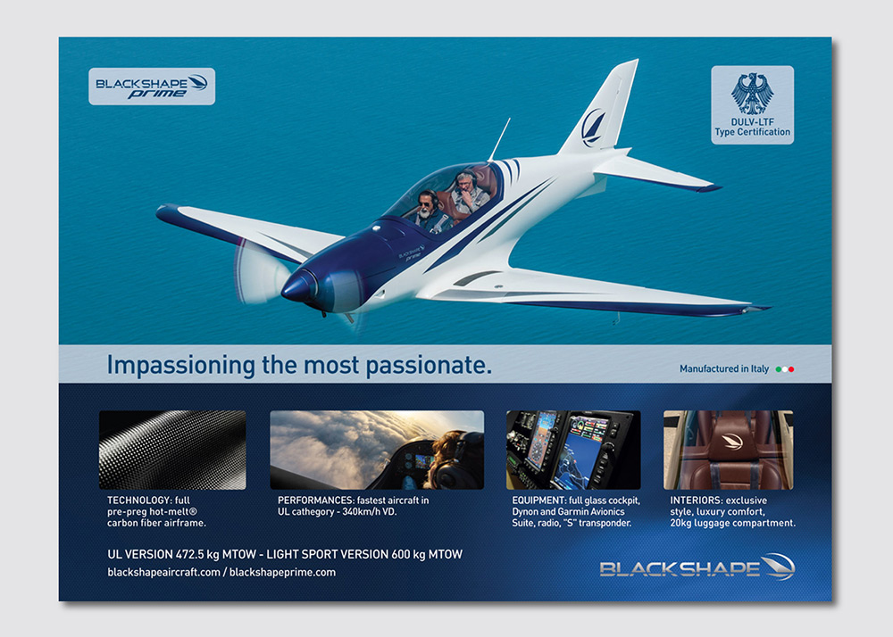 Blackshape aircraft campagna di comunicazione