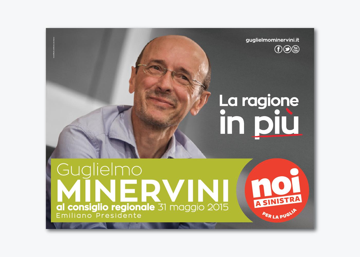 Campagna di comunicazione per Guglielmo Minervini elezioni regionali Puglia